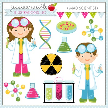 Mad Scientist Cute Digital Clipart, Science Clip Art, Kids