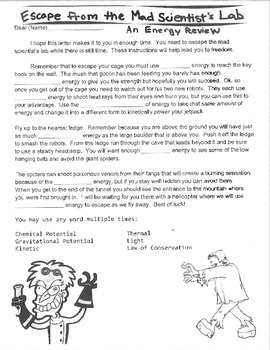 Mad Scientist Energy Review Story Guide Literacy Vocabulary