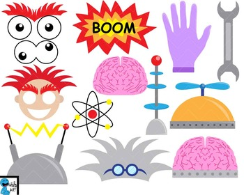 Crazy Scientist Props Digital Clip Art Personal Commercial Use 158 images cod169