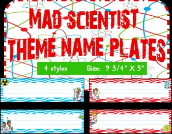 Mad Scientist Theme Name Plates