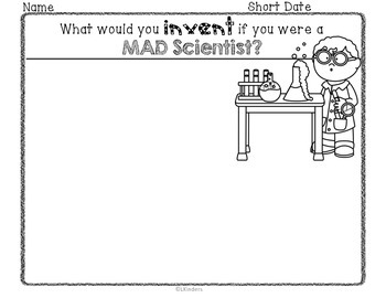 Kindergarten Writing Activities~ Mad Scientiest