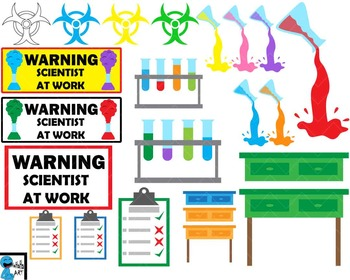 Crazy scientist and laboratory Digital Clip Art 91 images cod130