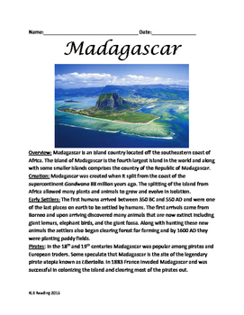 Madagascar - Full History and review Facts Lesson questions vocab activities