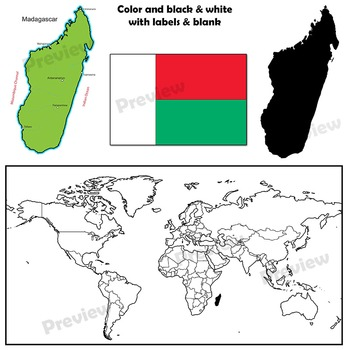 Madagascar Maps: Clip Art Map Set