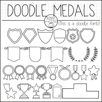 Doodle Medals by Bunny On A Cloud (This is a doodle font!)