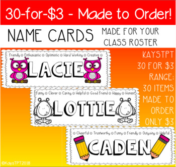Made To Order Name Cards