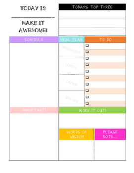 Made Today Awesome Daily Organizer