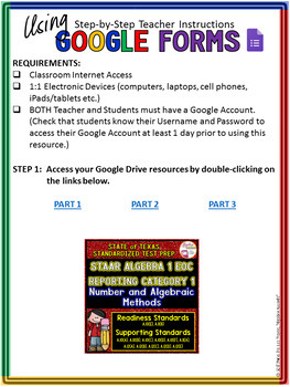 STAAR ALGEBRA 1 EOC Reporting Category 1 TEST PREP (Made for Google Drive)