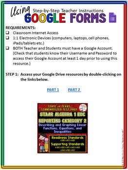 STAAR ALGEBRA 1 EOC Reporting Category 2 TEST PREP (Made for Google Drive)