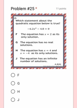 Made for Google Drive: STAAR ALGEBRA 1 EOC Reporting Category 4 TEST PREP
