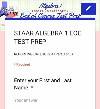 STAAR ALGEBRA 1 EOC Reporting Category 4 TEST PREP (Made for Google Drive)