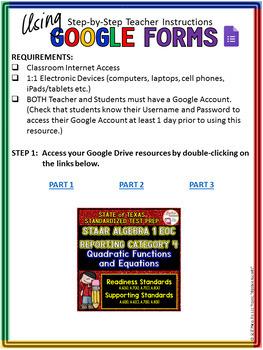 STAAR ALGEBRA 1 EOC Review Reporting Category 4 TEST PREP (Google Drive)