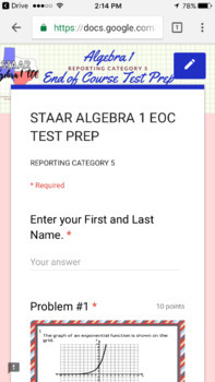 STAAR ALGEBRA 1 EOC Reporting Category 5 TEST PREP (Made for Google Drive)