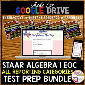 Made for Google Drive: STAAR ALGEBRA EOC TEST PREP BUNDLE