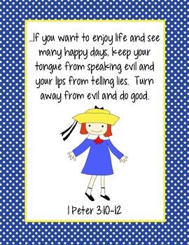 Madeline Bible Verse Printable (I Peter 3:10-12)
