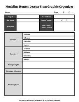 Madeline Hunter Lesson Plan Format with Two Objectives: Graphic Organizer
