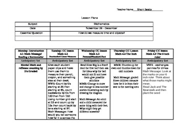 Madeline Hunter Lesson Plans Everyday Math Unit 4