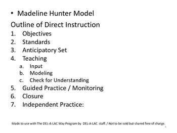 Madeline Hunter Model