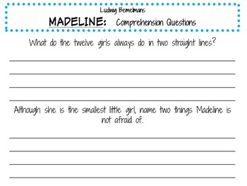 Madeline by Ludwig Bemelmans:    A Complete Literature Study!