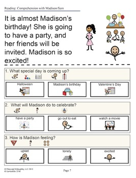 Madison-Sam Comprehension Activities
