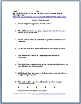 Madison's Radical Agenda: Constitutional Convention Worksheet