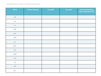 Madinah Arabic Book 1 Lesson 1 Student record sheet