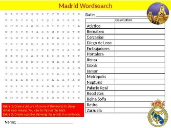 Madrid City Wordsearch Sheet Cartoon Starter Activity Keywords Geography
