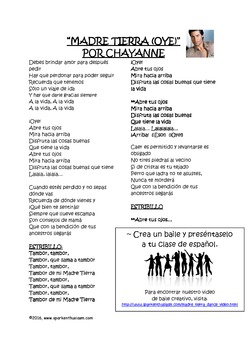 Madre Tierra Spanish Song Activity with Dance and Comprehension Questions