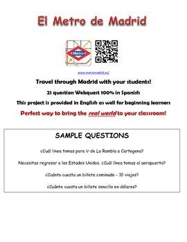 Madrid Metro Spanish Webquest Worksheet