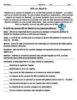 Madrid Wifi - Reading Comprehension Spanish