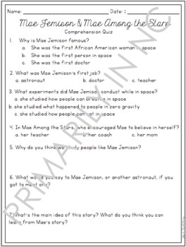 Mae Among the Stars Comprehension and Vocabulary