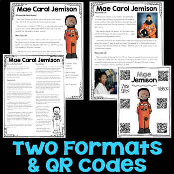Mae Carol Jemison Reading Passage, Biography Report, & Comprehension Activities