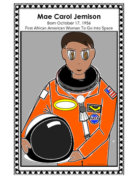 Mae Jemison Coloring Sheet and Poster, African American, Female  Astronaut