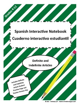 Maestra In Middle Spanish Interactive Notebook Definite and Indefinite Articles