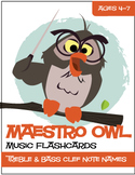 Maestro Owl™ | Music Flash Cards (Matching/Memory) Game (D