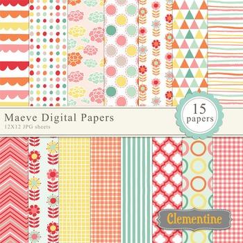 Maeve floral digital papers, digital scrapbooking paper