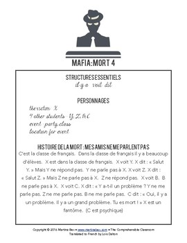 Mafia scripts for game play in beginning FRENCH classes