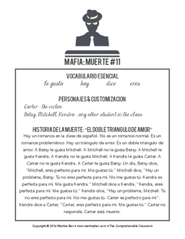 Mafia scripts for game play in beginning Spanish classes
