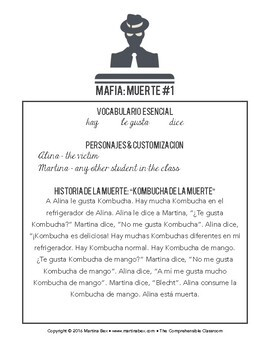 Mafia scripts for game play in beginning Spanish classes SAMPLE