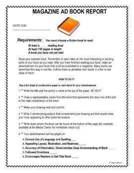 Book Report - Make a Magazine Ad for Your Book Assignment