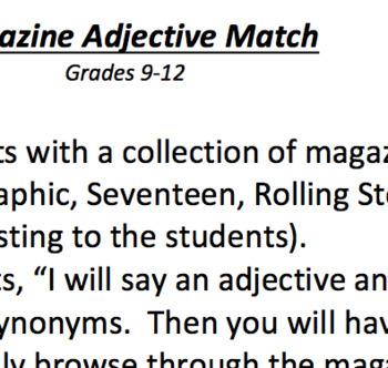Magazine Adjective Match