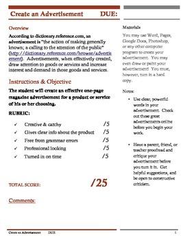 Magazine Advertisement Assignment