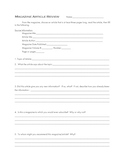 Magazine Article Review Sheet