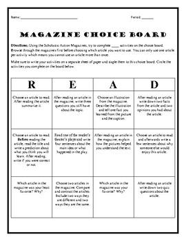 Magazine Choice Board