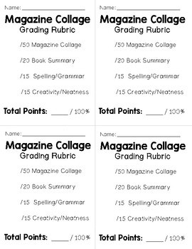 Magazine Collage Book Report {Directions, Summary Page & Grading Rubric}