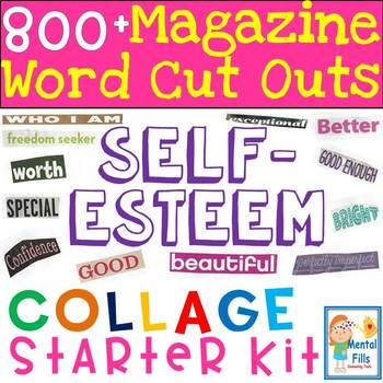 magazine word cut outs for self esteem collages starter kit tpt