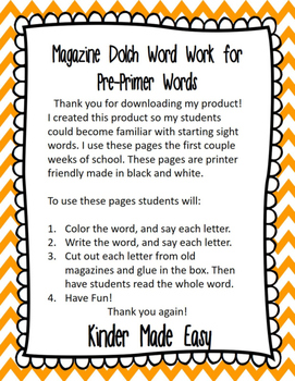 Magazine Dolch Word Activity