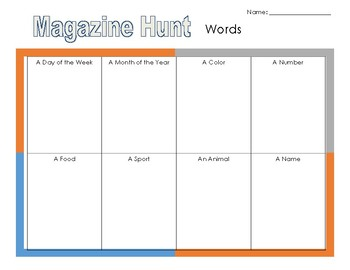 Magazine Hunt Activity Sheets for Library or Language Arts Centers