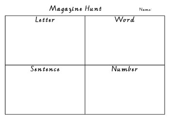 Magazine Hunt- Letter, word, number, sentence