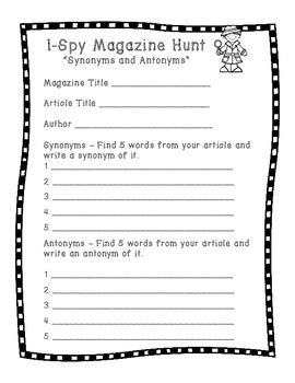 Magazine Hunt - Synonyms and Antonyms